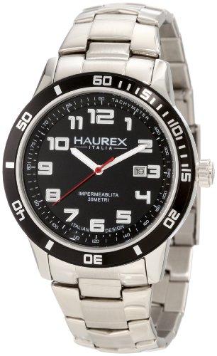 Haurex Italy 7A355UNN - Reloj analógico de cuarzo para hombre con correa de acero inoxidable, color plateado
