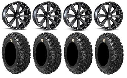 MSA Black Kore 14″ ATV Wheels 30″ Kanati Mongrel Tires Polaris RZR 1000 XP / Ranger 900 XP