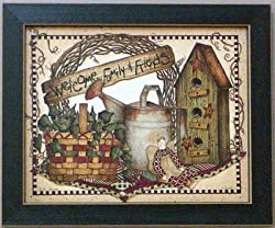 Framed Welcome Friends Basket Angel Linda Spivey Print