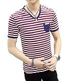 Youchan(ヨウチャン) Tシャツ メンズ 半袖 ボーダー ストライプ マリン カットソー 夏 サマー バスクシャツ V首 Vネック 着心地 着回し インナー カジュアル トップス (XL, レッド)