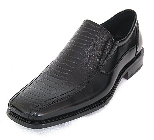Struzzo Men's Black Leather Dress Shoes Slip On Ostrich Loafers 9 M US
