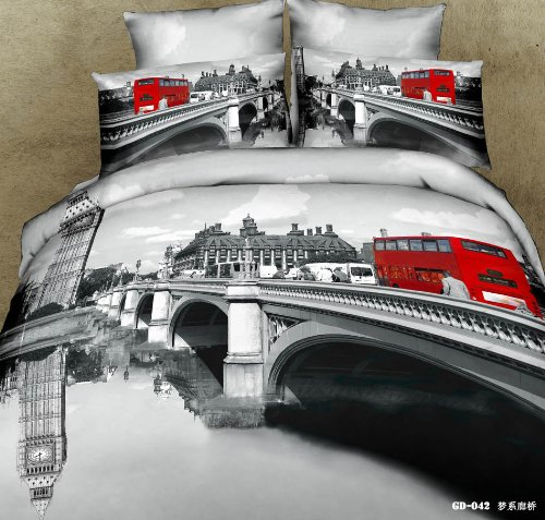 Queen King Size 100% Cotton 7-Pieces 3D Black And White London Bridge Red Bus Prints Fitted Sheet Set With Rubber Around Duvet Cover Set/Bed Linens/Bed Sheet Sets/Bedclothes/Bedding Sets/Bed Sets/Bed Covers/ Comforters Sets Bed In A Bag (Queen) front-1023223