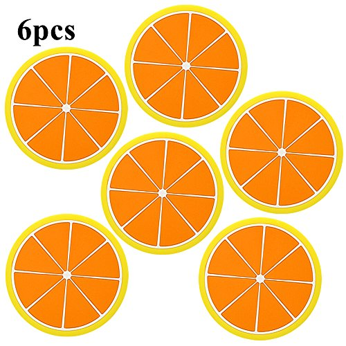 SHZONS™6pcs/Pack Anti-Slip Drink Cup Placemat Mat Silicone Fruits Slices Coasters Holder For Coffee and Wine Lovers Gift Worthy(Lemon)