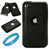 51LOc2VuTXL. SL160 Metallic Black Protective Rubberized Crystal Hard Snap on Case and Black Silicone Gel Skin for Apple iPod Touch 5th Generation (iPod Touch 5 Latest Gen) and Apple iPod Touch 4th Generation, 4th Gen (8GB, 16GB, 32GB, 64GB) + SumacLife TM Wisdom Courage Wristband