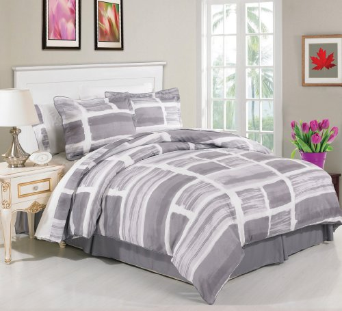 Luxury Home 8-Piece Waterfront Bed-In-Bag Set, Full, Grey front-915820