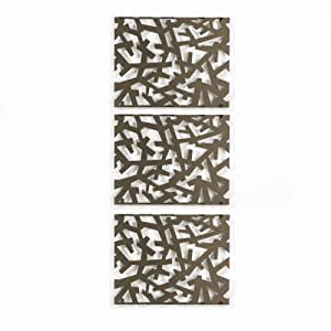 Umbra Arbera 9-Inch-by-12-Inch Metal Wall Decor Tiles, Set of 3, Bronze