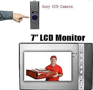 "Q1C1 High End Full Color Video Audio Security Door Bell Phone Intercom System Kit SONY CCD, 7"" LCD Monintor"