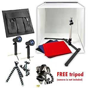 "CanadianStudio STUDIO IN A BOX PHOTO LIGHTING PHOTOGRAPHY SET Continuous Light Kit 2 lights, 16"" light tent with 4 pcs backdrops, Camera stand"