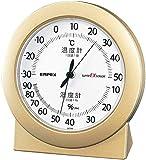 エンペックス気象計 温度湿度計 スーパーEX 高品質温湿度計 置き用 日本製 シャンパンゴールド EX-2768