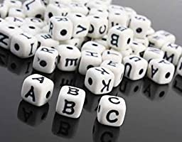 Package of 240 White Cube Jewelry Beads with Black Alphabet Letter for Crafting and Creating