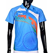 Li-Ning LNOR-07 India Print Color T-Shirt Colour Light Blue (Pack Of 1 T-Shirt)