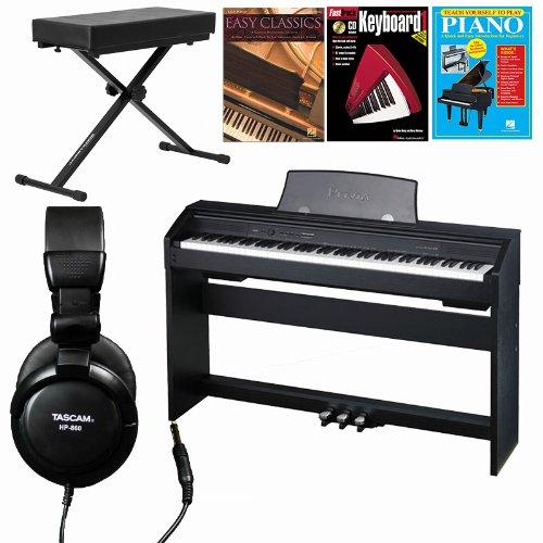 Casio Px-750 Bk 88-Key Digital Piano 3 Hal Leonard Piano Books Large Bench Headphones