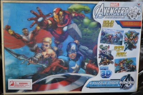 Disney Marvel Avengers Assemble Super 3D 4 Puzzle Pack