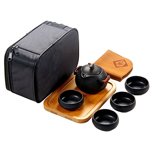 Tea Talent Chinese & Japanese Portable Travel Kungfu Tea Set - Porcelain Teapot & Teacups & Bamboo Tea Tray & Tea Towel with Handbag, Black (Teapot Mat compare prices)