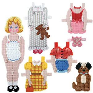 Craftways Sarah & Scooter Paper Doll Plastic Canvas Kit