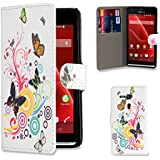 32nd® Design book PU leather wallet case cover for Sony Xperia SP (M35h) mobile phone - Colour Butterfly