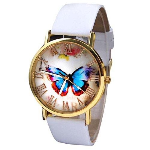 donne orologio da polso, orologio analogico al quarzo cinturino in pelle farfalla (bianca)