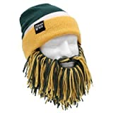Beard Head Tailgate Green Bay Knit Beanie w/ Beard Hat (Green & Yellow)