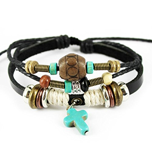 MORE FUN Turquoise Cross Pendant Black Handmade Leather Wrap Bracelet, Adjustable