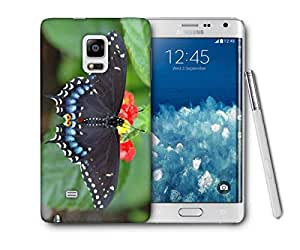 Snoogg Black Butterfly Flying Printed Protective Phone Back Case Cover For Samsung Galaxy NOTE EDGE