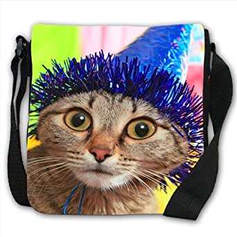 Wide Eyed Party Cat With Blue Party Hat Small Black Canvas Shoulder Bag / Handbag
