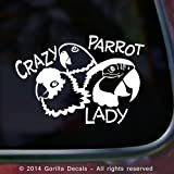 CRAZY PARROT LADY Macaw Amazon Conure Bird Parrots Vinyl Decal Sticker Car Window Door Wall Sign WHITE
