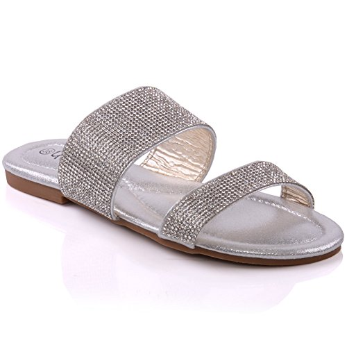 Unze Womens 'Marigold' Flat Shimmery Slippers - MT-109
