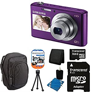 Samsung DV150F 16.2MP Smart WiFi Digital Camera plum (Purple) With 5x Optical Zoom and 2-Inch front and 3-Inch Rear Dual LCD Screen + Compact Case + Table Top Tripod + Camera & Lens 3 Piece Cleaning Kit With 8 GB micro Top Deluxe Accessory Kit