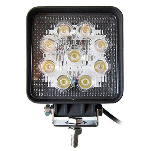 Anse 27W Square 6000K 1890Lm 9 Led White Light Ultrathin Led Offroad Spot Beam Light For Tractor Marine Off-Road Lighting Rv Atv- Black (1 X 27W Work Light)