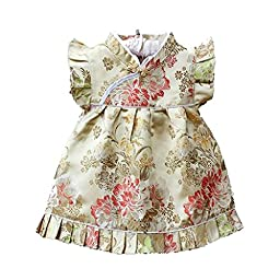 Buenos Ninos Girls Short Sleeve Cheongsam Baby Qipao Patterned Cloth Set Champagne Peony M