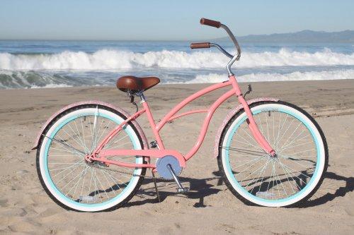 Sixthreezero Women39s 1Speed 26Inch Beach Cruiser Bicycle Paisley Coral