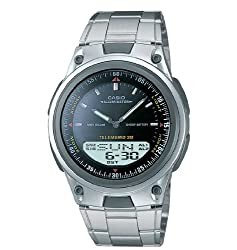 Casio analog digital black face stainless steel watch AW80D-1