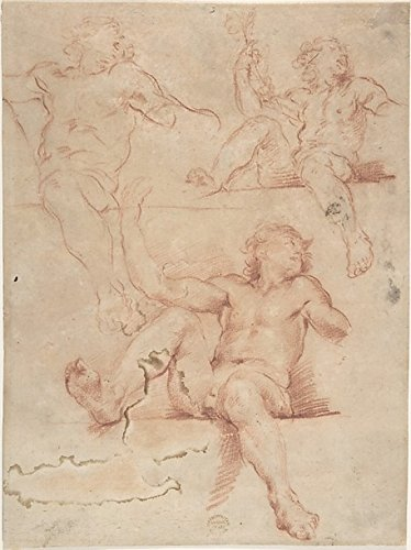 Three Studies of Seated Nude Male with Raised Arm, Seen from Below. Poster Print by Anonymous, Italian, Bolognese, 17th century Date: 17th century Medium: Red chalk, on light brown paper. Partly reworked with red crayon Dimensions: 10-3/8 x 7-3/4 in. (18 x 24)