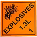 Brady 63325 10.75 x 10.75 inches, Pressure Sensitive Vinyl (B-946), Black on Orange DOT Vehicle PlaCards (1 Each )