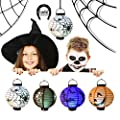 EverKid Halloween Decorations Paper Lanterns with LED Light, pack of 5 - Skeleton,Bats,Jack-O,Spiders by EverKid