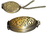 Four Photo Locket Necklace – Ornate Polished Bronze Toned Swirl Locket – 4 Fold Holds 4 Pictures – Old School Geekery TM Photo Locket – Insert Your Own Family Photos or Keepsake Images