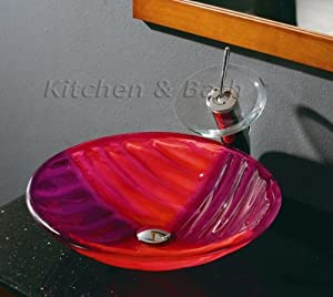 Bathroom unique red purple glass vessel sink chrome for Purple glass bathtub