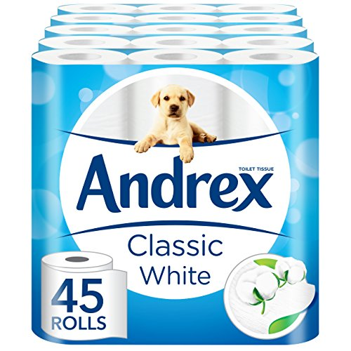 Andrex White Toilet Tissue - 45 Rolls (5 x pack of 9 rolls) by Andrex