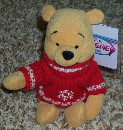 "Disney Winnie the Pooh Holiday Snowflake Red Sweater 8"" Plush Bean Bag Doll - 1"