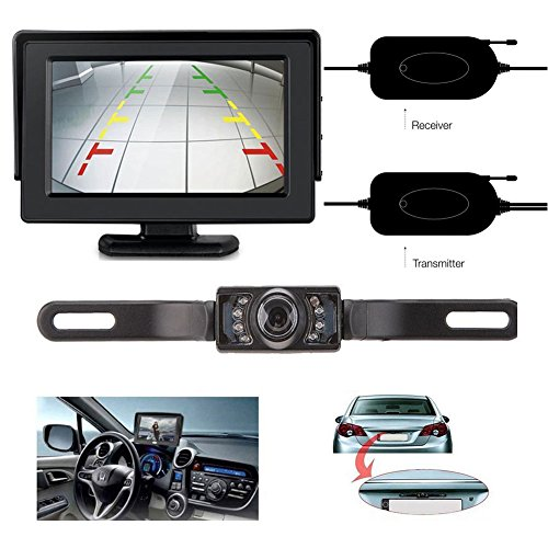 LeeKooLuu Wireless Rear View Backup Camera and Monitor Kit For Car/Vehicle with 7 LED Night Vision (Camera Car Reverse compare prices)