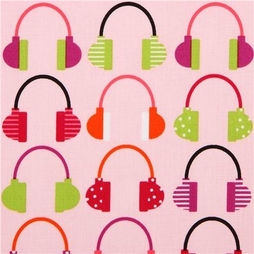Pink Beatbox Retro Headphones Fabric Robert Kaufman (Per 0.5 Yard Multiple)