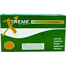 Ammex Xtreme Industrial Grade Nitrile Glove, Powder Free, 9.5&#034; Length, 4 mils Thick