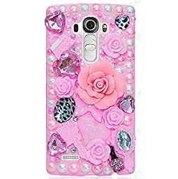 LG Escape 2 / Spirit 4G LTE Case, Sense-TE Luxurious Crystal 3D Handmade Sparkle Diamond Rhinestone Clear Cover with Retro Bowknot Anti Dust Plug - Big Rose Heart Cosmetic Flowers / Pink