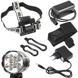 Theoutlettablet® Luz delantera - Foco frontal para Bici 6400 lúmenes Linterna LÁMPARA TORCH frontal 5x CREE XML T6 Plus LED de bicicleta /bici lámpara Luz LED frontal para manillar de bicicletas (5 leds, 6400 Lumens) con batería y cargador COLOR NEGRO