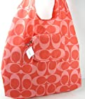 Coach C Signature XL Purse Hot Orange Coral Park Folding Tote into Pouch