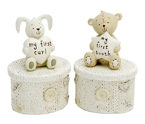 Teddy Bear And Rabbit My First Curl And Tooth Resin Pots By Haysom Interiors
