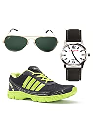 Elligator Stylish Green & Black Sport Shoes & Watch With Elligator Sunglass For Men's