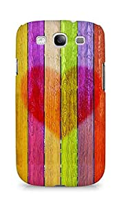 Amez designer printed 3d premium high quality back case cover for Samsung Galaxy S3 i9300 (Multicolored wooden planks with a heart)
