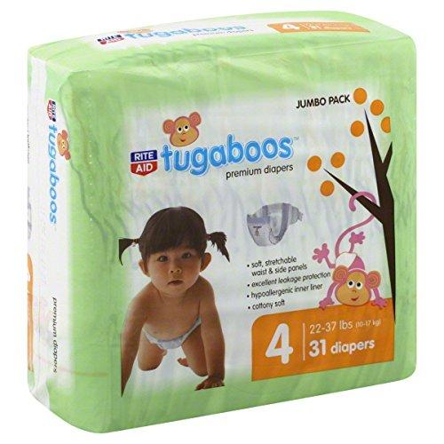 Rite Aid Tugaboos Diapers, Premium, Size 4 (22-37 lbs), Jumbo Pack, 31 ct - 1