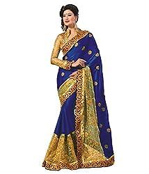 Om Shantam Sarees womens Blue Sari with Blouse(OmblueMSnetAj_Blue)